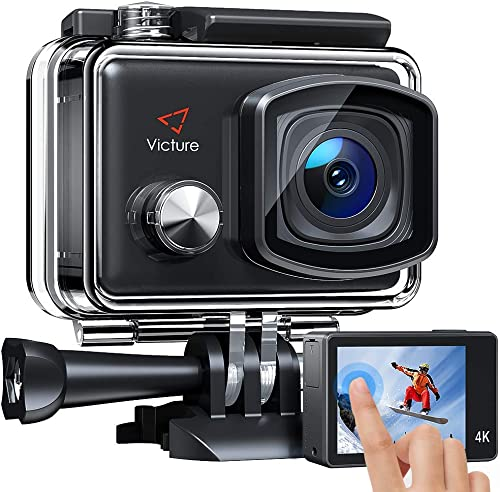 Victure AC900 4K 30fps Action Camera 20MP WiFi Touch Screen 30M Underwater Recording Camera Image Stabilization Sports Cam with 2 1350mAh Rechargeable Batteries and Helmet Accessories Kit Included