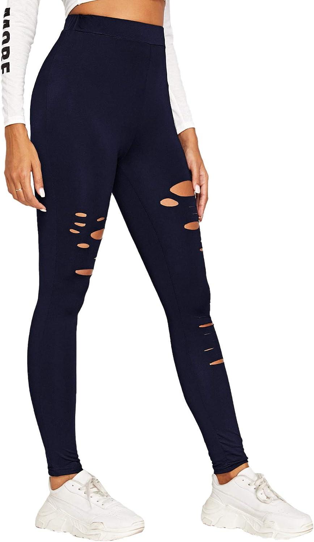 SweatyRocks Womens Legging Mesh Insert Ripped Tights Yoga Slim Pants
