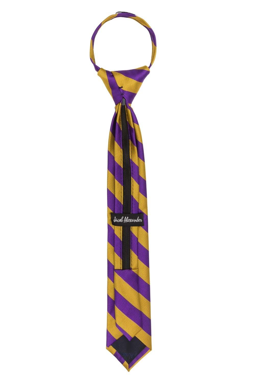 Orange Black Jacob Alexander Stripe Woven Boys 14 College Striped Zipper Tie