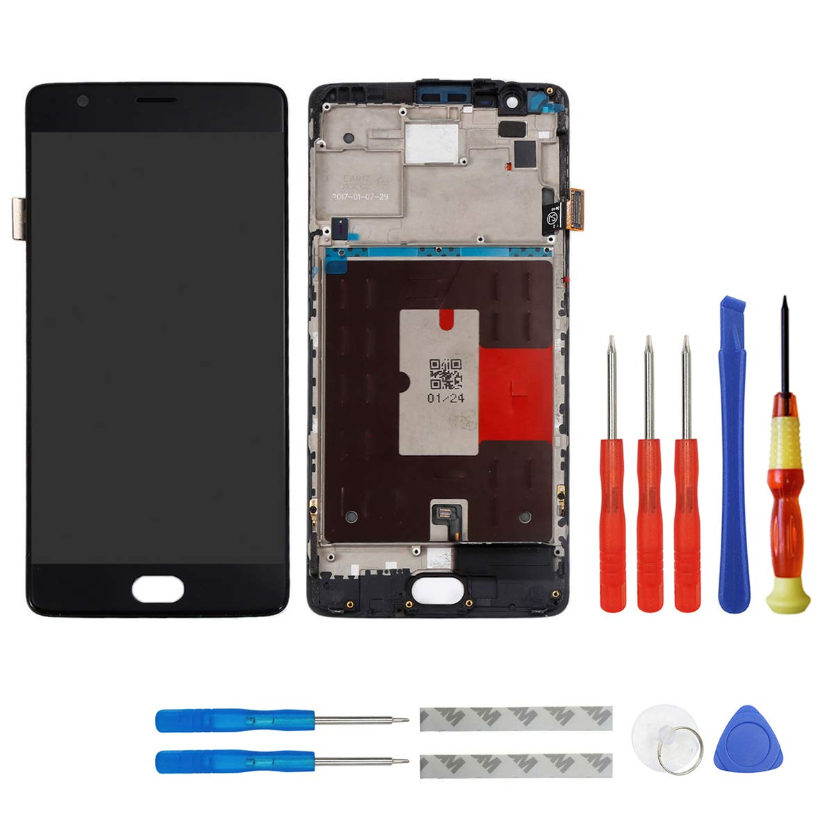 E-yiiviil Screen Replacement Compatible for Oneplus 3 1+3 Display LCD Touch Screen with Frame (Black)+ Tools by E-YIIVIIL