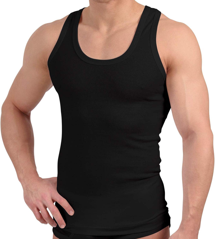 pretrattate colore: nero Celodoro 4 pezzi canottiere da uomo lisce 100/% cotone pettinato