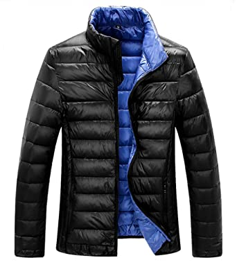 ZSHOW Men's Lightweight Stand Collar Packable Down Jacket(Black ...