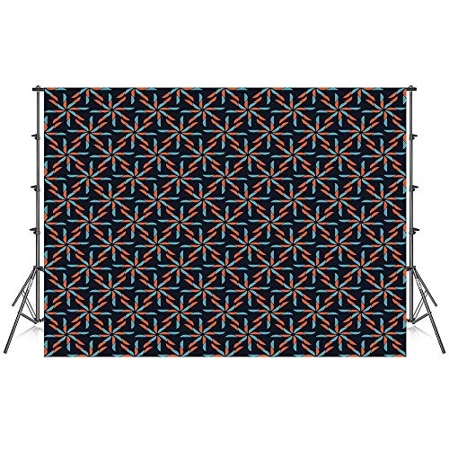 Geometric Stylish Backdrop,Pinwheel Designs with Dark Toned Backdrop Abstract Pattern Star Motifs for Photography Festival Decoration,59''W x 39''H ()