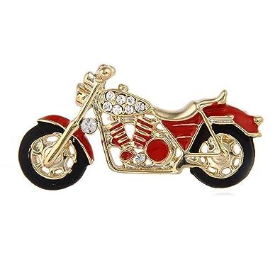 Amazon.com: MLXZ Broche de Motocicleta Color Dorado Rojo ...