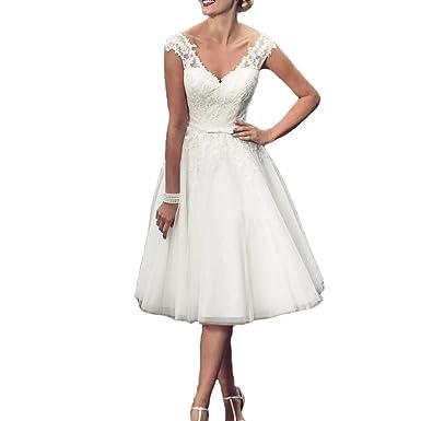 Vicokity Vintage Short Lace Appliques Country Wedding Dresses Tea ...