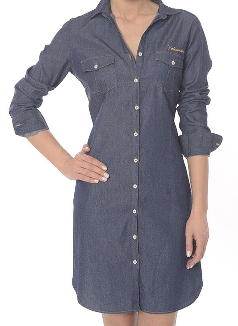 Femme Valecuatro Vale Chemisier Bleu Denim Pour Robe L Cuatro HeIWDYE92