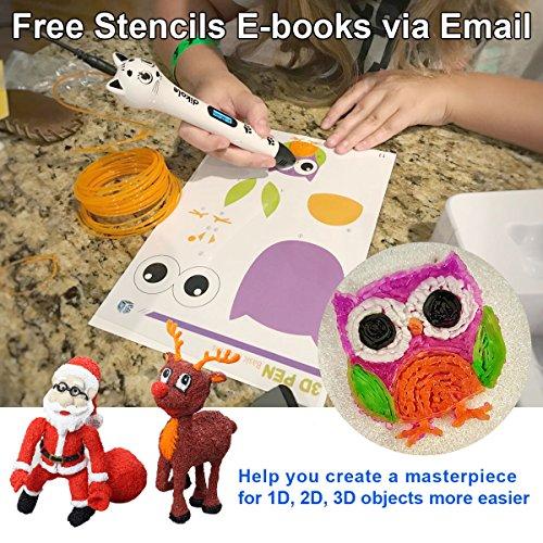 3D Pen - Dikale 05A【Newest Design】3D Doodler Drawing Printing Printer Pen Bonus 250 Stencils eBooks for Kids Adults Arts Crafts Model DIY, Non-Clogging by dikale (Image #2)