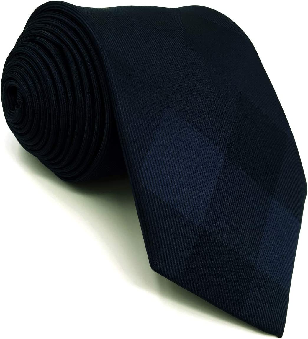 S/&W SHLAX/&WING Solid Color Mens Neckties with Pocket Square Blue Ties Set for Suit Jacket