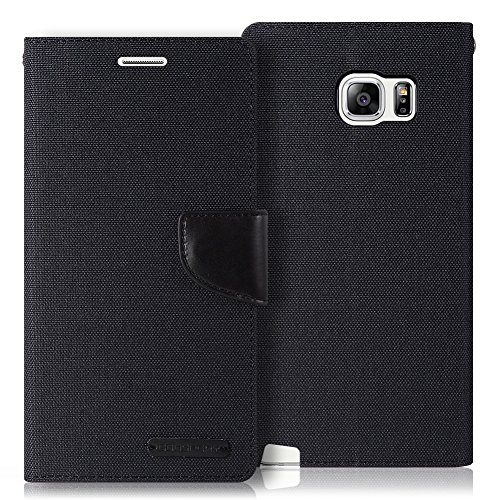 Galaxy Note 5 Case, [Drop Protection] GOOSPERY Canvas Diary [Denim Material] Wallet Case [ID Credit Card and Cash Slots] with Stand Flip Cover for Samsung Galaxy Note 5 (Black) NT5-CAN-BLK (Samsung Galaxy Note 5 Best Price)