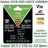 32GB Micro SD SDHC V30 A1 Memory Card Plus Adapter Pack (Class 10 U3 UHS-I MicroSD HC Extreme Pro) Amplim 32 GB Ultra High Speed 667X 100MB/s UHS-1 TF MicroSDHC 4K Flash - Cell Phone, Drone, Camera