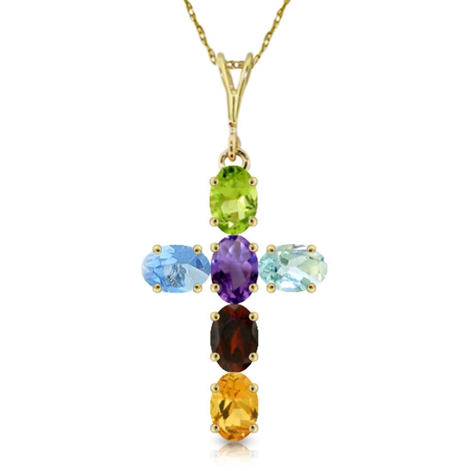 ALARRI 1.5 Carat 14K Solid Gold Cross Necklace Natural Multicolor Gems with 18 Inch Chain Length