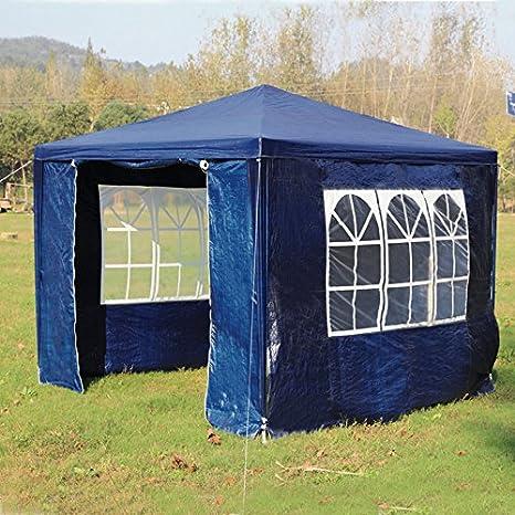 homgrace cenador de jardín 3 x 3 m, Cortina plegable con 3 paredes lateriali, ventanas, ideal para playa, jardín, eventos, acampada, el día, 3 x 3m, blu: Amazon.es: Jardín