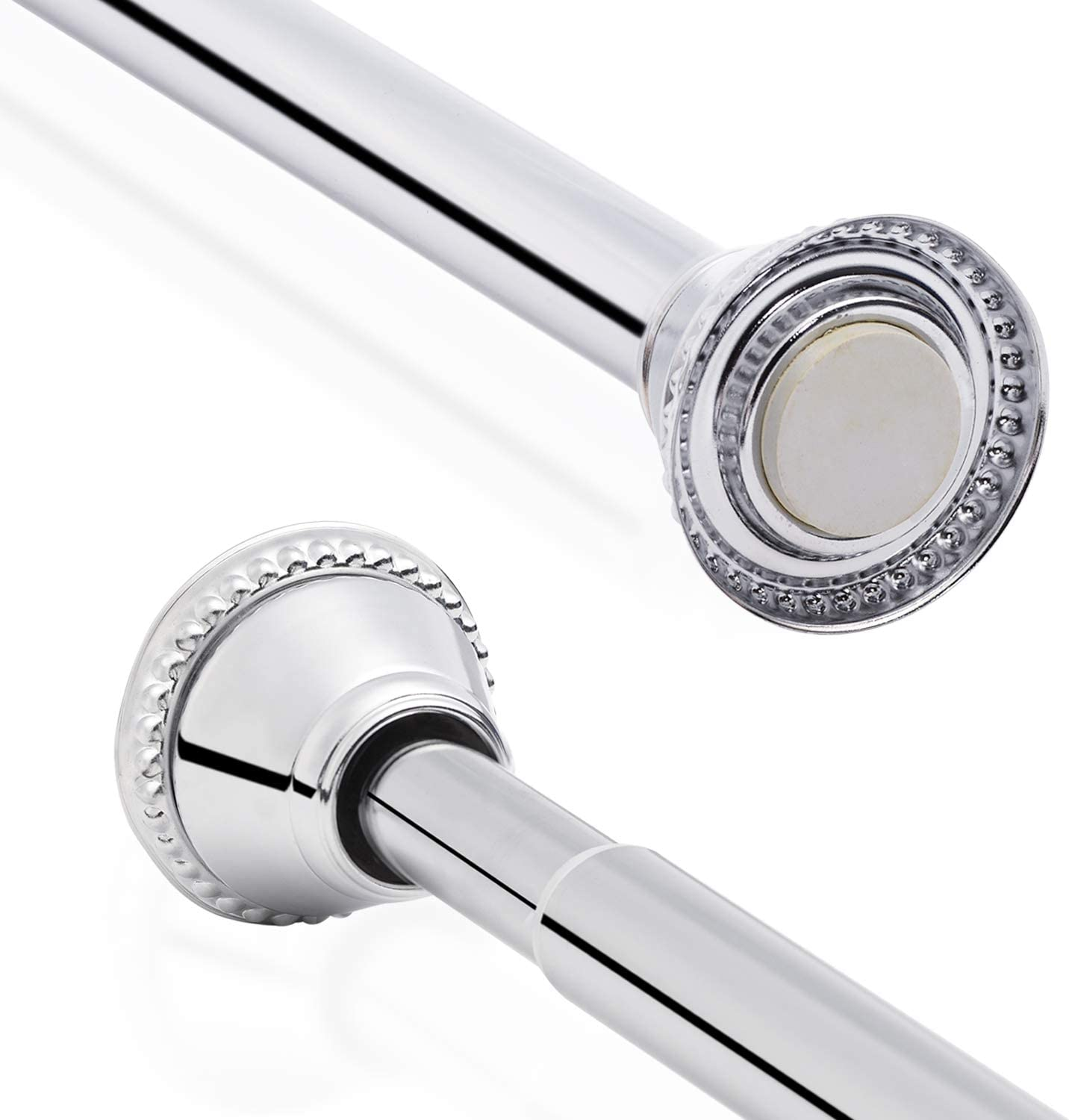 Stainless Steel Spring Tension Rod Extendable Telescopic Shower Curtain Pole No Drilling for Bath Wardrobe DIY Projects, Adjustable Length 100-190cm