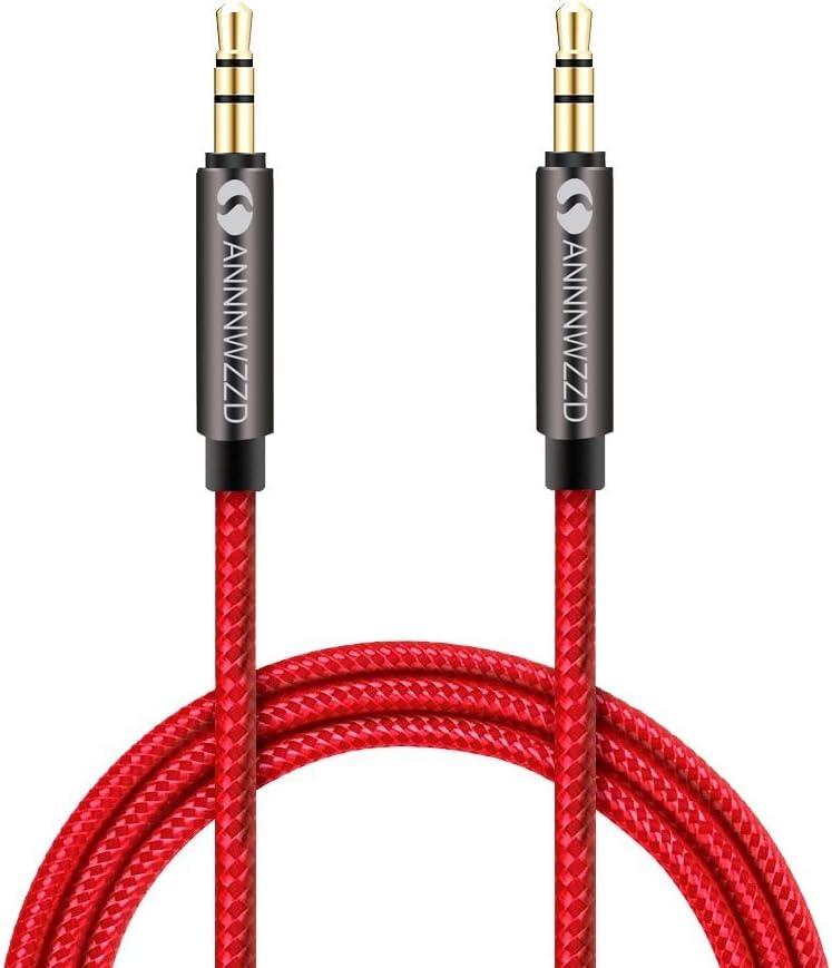 linkinperk AUX Cable 3,5mm nailon Cable de audio macho a macho Cable AUX Cable auxiliar para estéreo de coches, iPod, , Beats, ordenador, MP3 jugadores y más(0.5M)