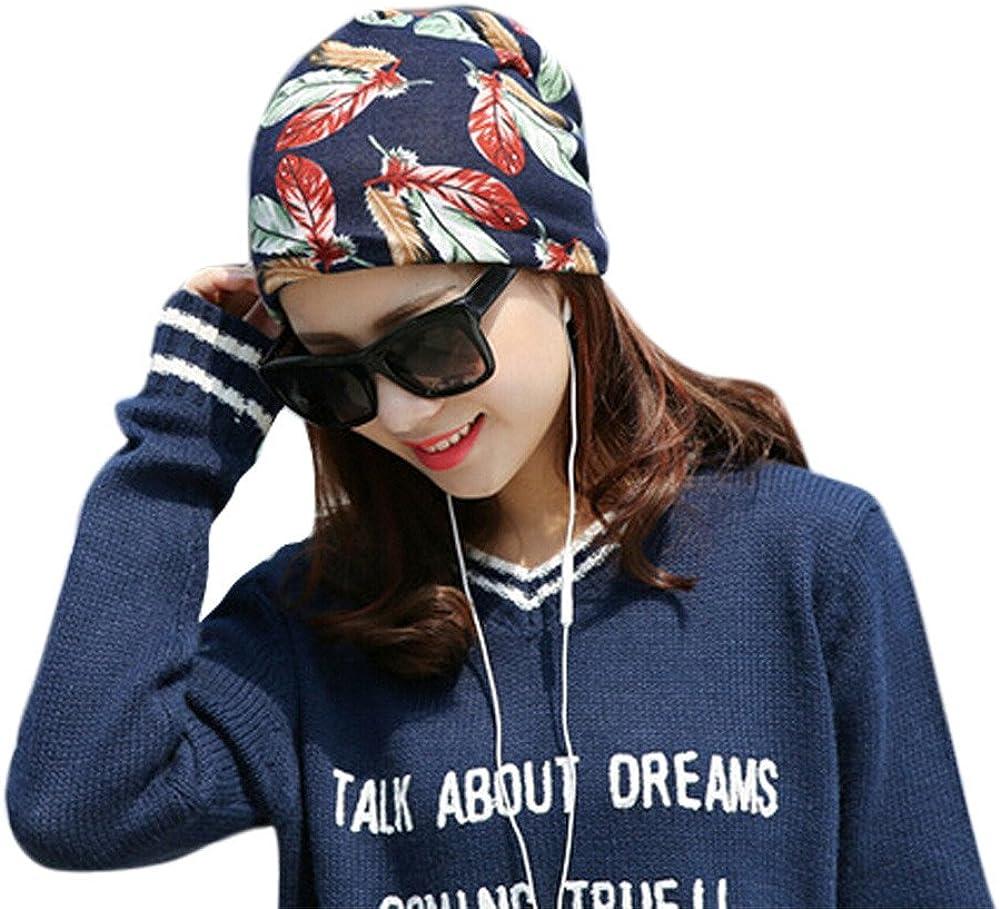 TWGONE Womens Beret Stretchy Printing Turban Head Wrap Band Chemo Hat Bandana Pleated Caps