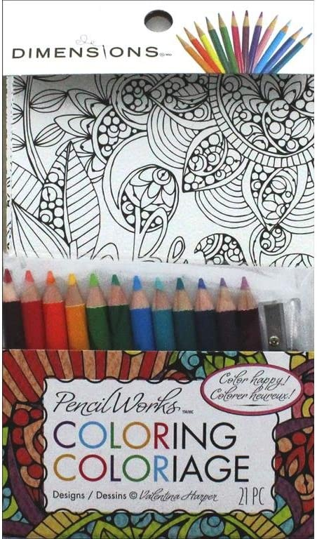 Amazon.com: Dimensions Inspirational Adult Coloring Pages With Colored  Pencils And Pencil Sharpener, 8 Pgs., 4'' X 6'': Home & Kitchen
