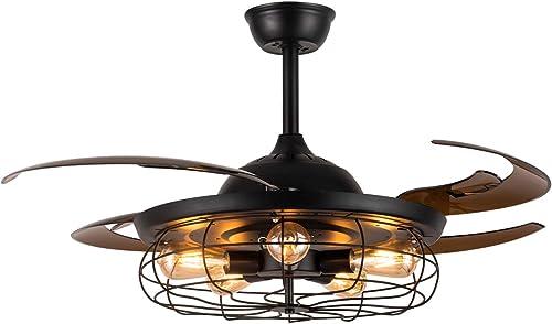APBEAMLighting Industrial Ceiling Fan Light Reverse Vintage Fan Chandelier