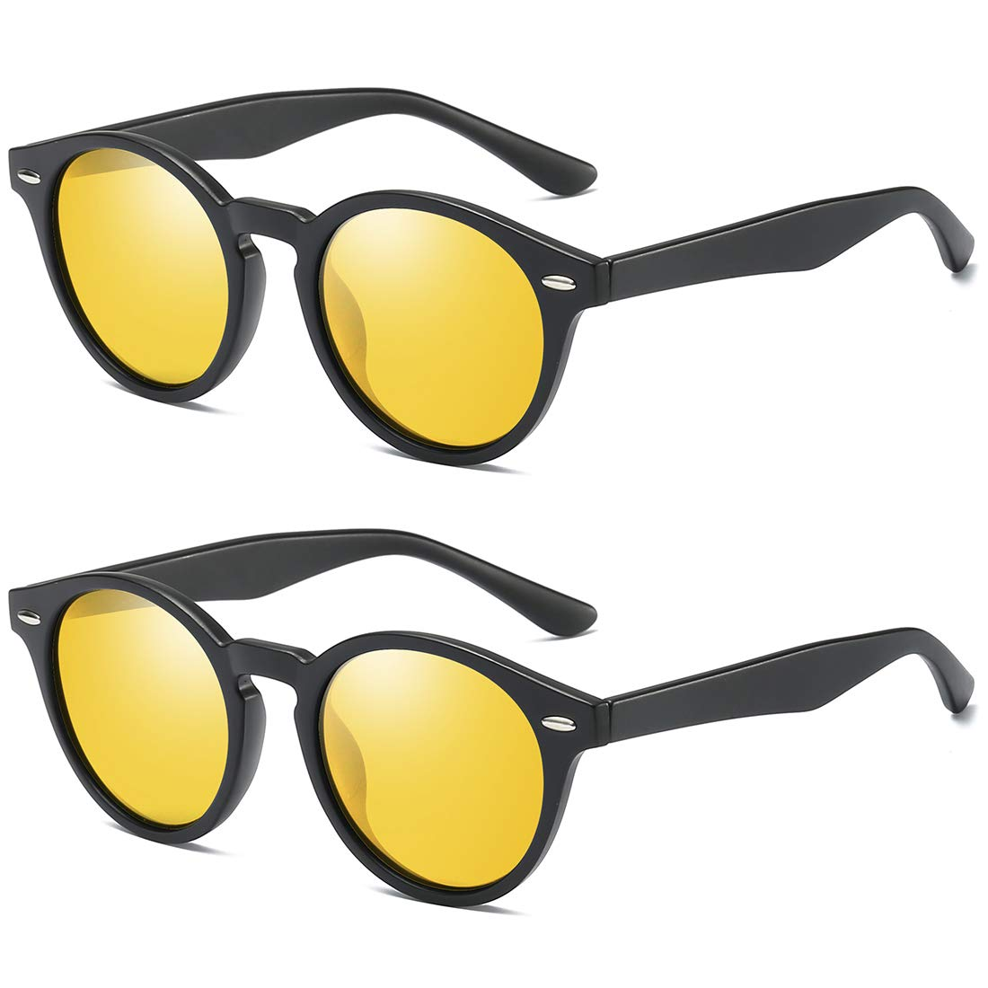 2 Pack Night Driving Yellow Lens ROYAL GIRL Classic Round Retro Sunglasses For Women polarized Vintage Designer Style