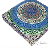 Eyes of India - 35'' Blue White Oversized Large Floor Pillow Cover Pouf Meditation Cushion Seating Mandala Square Hippie Colorful Decorative Indian Boho Dog Bed Bohemian Cover ONLY