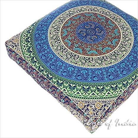 "Eyes of India 35"" Grande Cuadrada Grande Suelo Funda De Almohadón Puf Mandala Hippie Colores"