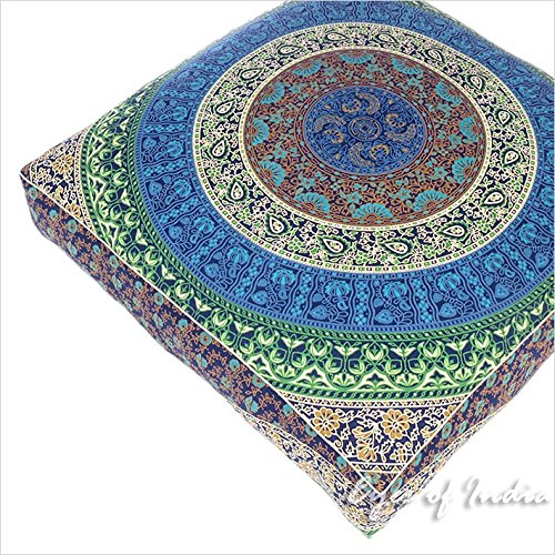 Eyes of India - 35'' Blue White Oversized Large Floor Pillow Cover Pouf Meditation Cushion Seating Mandala Square Hippie Colorful Decorative Indian Boho Dog Bed Bohemian Cover ONLY by Eyes of India