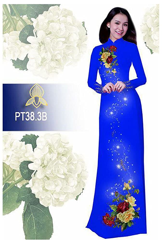 All Size Traditional Vietnamese Long Dress Collections with Pants Ao Dai Silk 3D ADVN00364