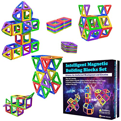 Desire Deluxe Magnetic Building Blocks 40pc Construction Toys Set for Kids Game   STEM Creativity Educational Magnets…