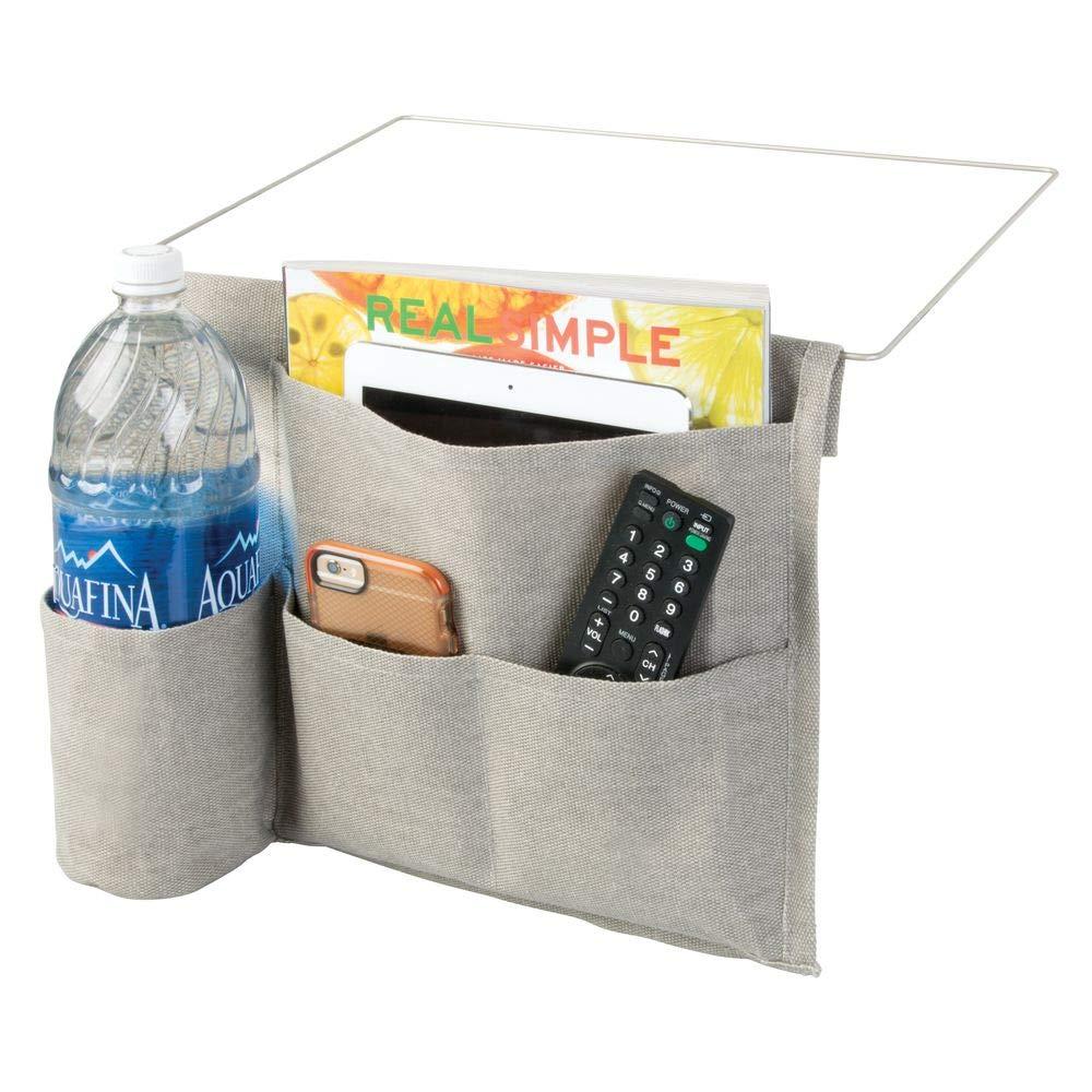 mDesign Bedside Storage Organizer Caddy - Slim Space Saving Design, 4 Pockets - Heavy Weight Cotton Canvas - Holds Water Bottles, Books, Magazines - Light Gray/Wire Insert in Matte Satin