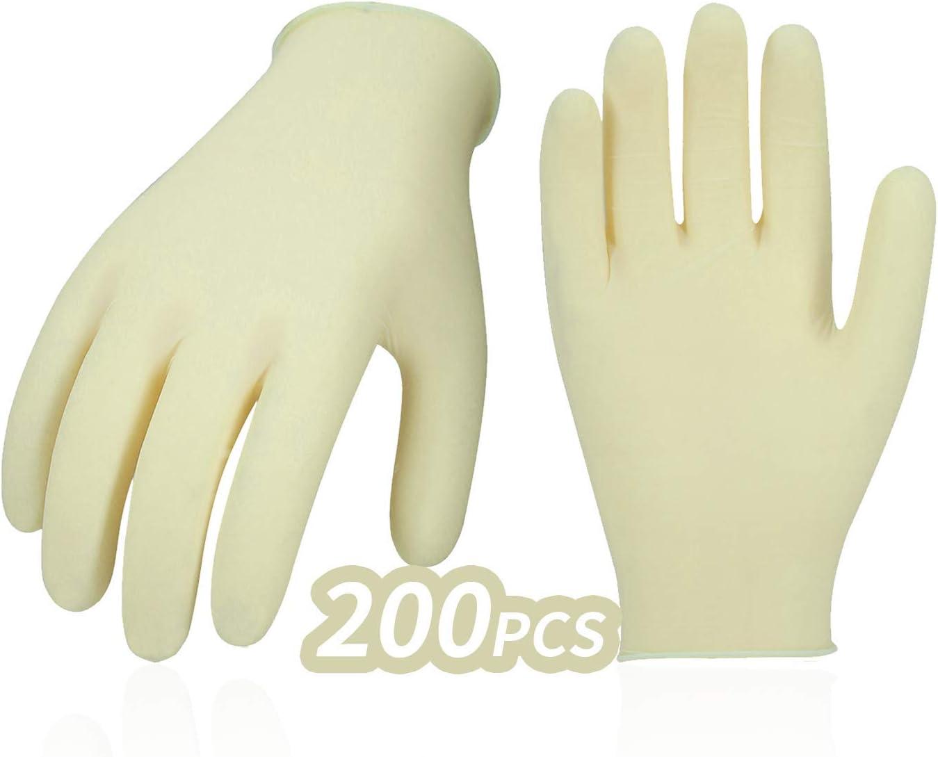 Vgo 200PCS Einweghandschuhe aus industriellem Latex pulverisiert Nicht steril strukturiert gut f/ür Lackier- und Endbearbeitungsarbeiten Gr/ö/ße L, Wei/ß, RB0001