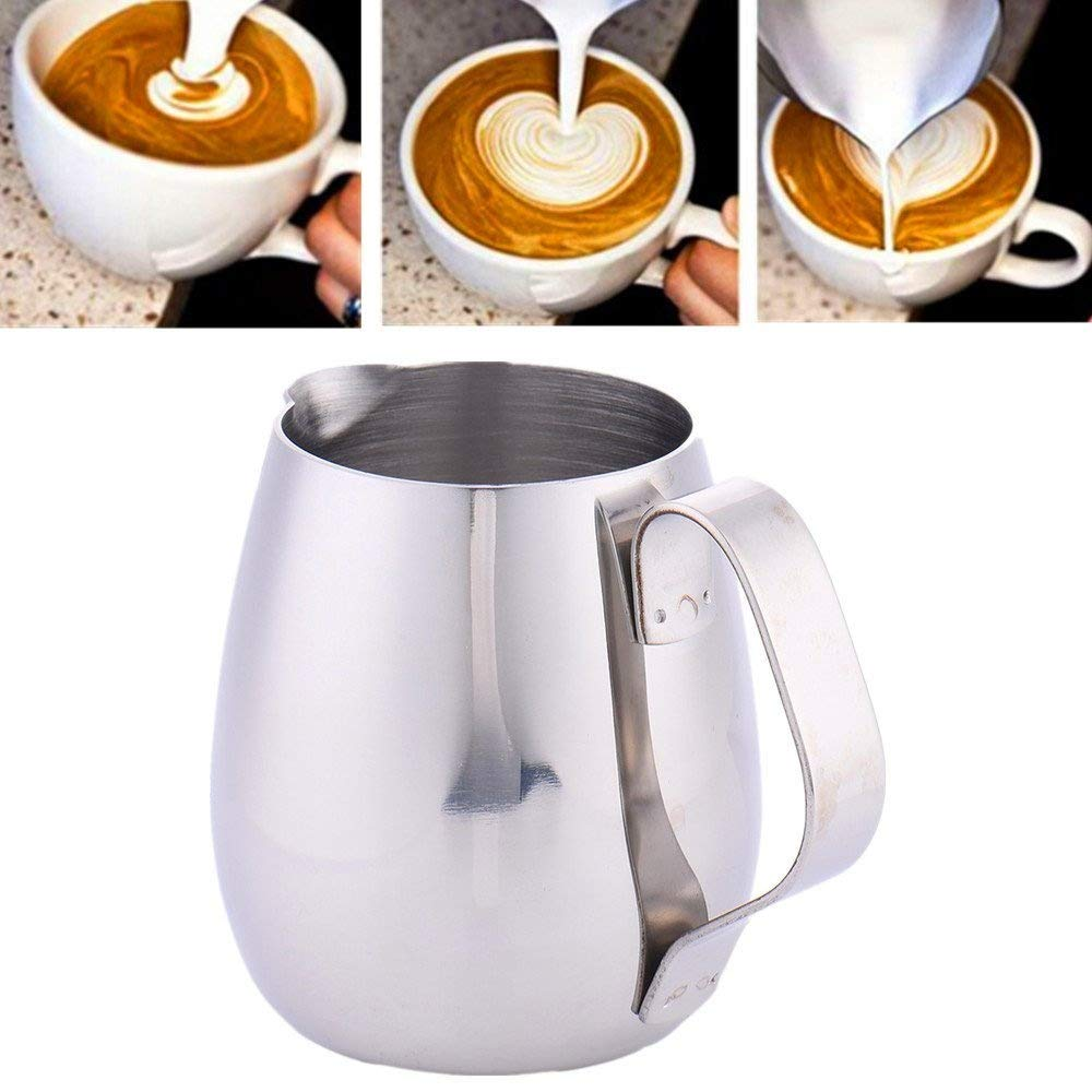 10oz/300ml Milk Frothing Pitcher Coffee Latte Thicken Stainless Steel Milk Cup Drum-shape Polished Jug Steaming Milk Cup zsl