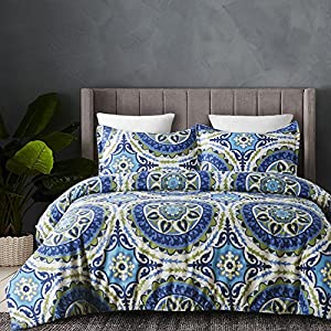 Vaulia Lightweight Microfiber Duvet Cover Set, Bohemia Style Exotic Patterns Design, Blue /Grey Reversible Color - King Size