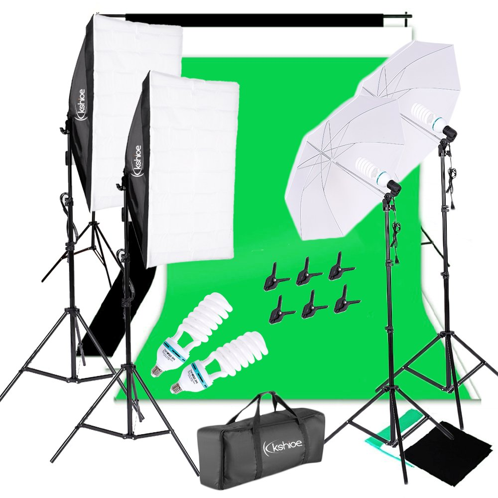 Kshioe 1700W 5500K Umbrellas Softbox Continuous Lighting Kit with Backdrop Support System for Photo Studio Product, Portrait and Video Shoot Photography by Kshioe
