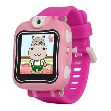 AGPTEK W6 Reloj Inteligente para niños con Rotación cámara, Juegos, Temporizador, Despertador, Color Rosa: Amazon.es: Electrónica