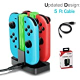 LILY Caricabatteria per switch Nintendo, 4 in 1 Joy-With Battery Charger Caricabatteria per 4 Controller Dock Stazione con Indicatore LED