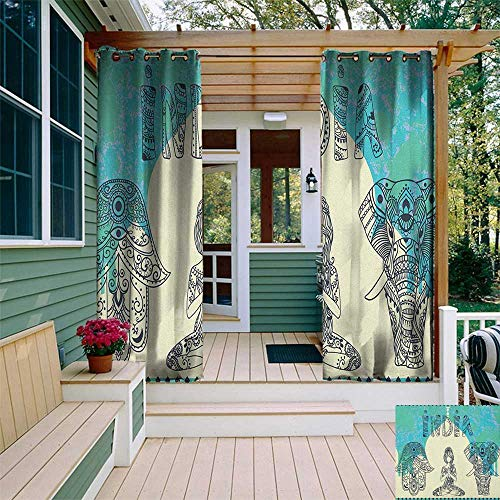 leinuoyi Yoga, Outdoor Curtain Extra Wide, Ethnic Elephant Hamsa Hand Woman Doing Yoga Ornaments Taj Mahal Silhouette, Outdoor Patio Curtains W120 x L96 Inch Jade Green Cream Black