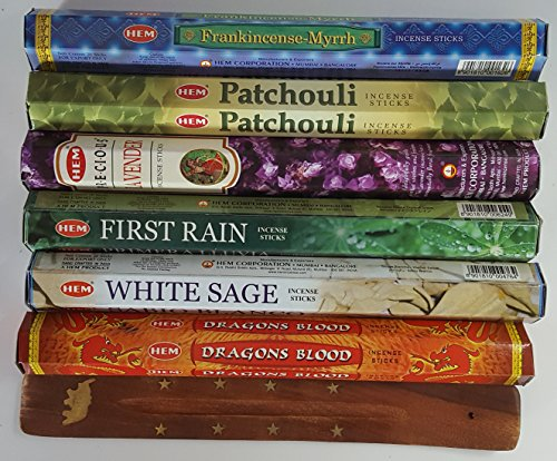Six Most Popular HEM Incense Scents Of All Time, 120 Sticks Total, With Free Burner - 20 Sticks Each of Dragon