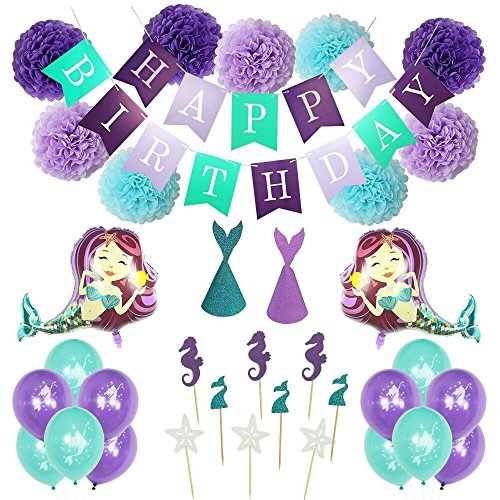 Mermaid Party Supplies, Mermaid party Decoration, Bridal shower decorations, Baby shower decorations, Pom Poms, Mermaid Balloons, Cupcake Topper, Large Foil Balloons, Banner, and Party Hats for Girls Birthday,