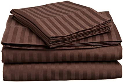 800-Thread Count 100/% Egyptian Cotton Flat Sheet Chocolate Stripe All USA Size