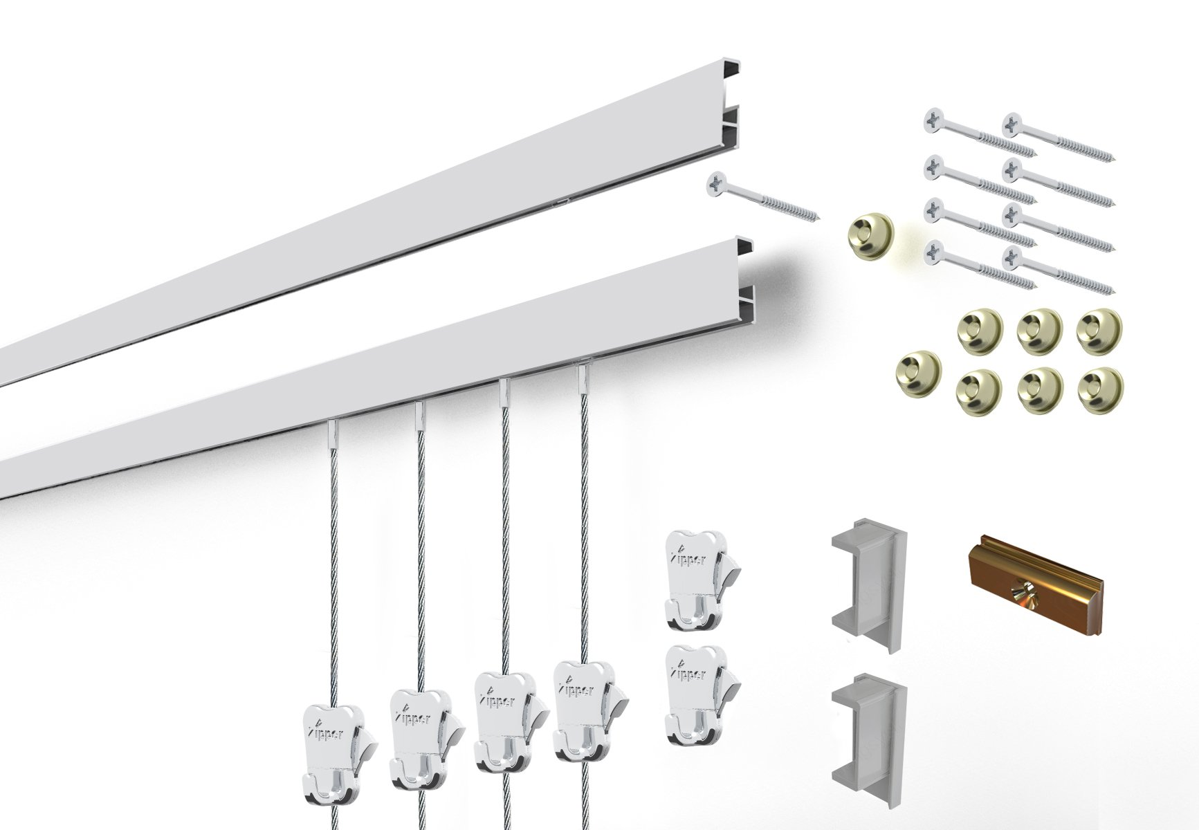 STAS Cliprail Complete Art Hanging Gallery System includes 2 Aluminum Tracks 59'', 6 Hooks, 4 Steel Cables, Installation Hardware (Matte Silver)