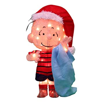Peanuts Outdoor Christmas Decorations.Peanuts 3d 18 In Pre Lit Tinsel Linus With Blanket Outdoor