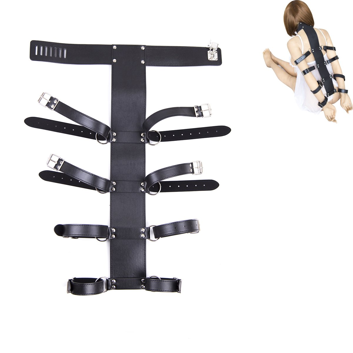 Lononvie Sex PU Bed Straps Bondage Restraints System,Neck Collar with Adjustable 4pcs Handcuffs Back,Couples BDSM Game Kit,Black by Lononvie (Image #1)