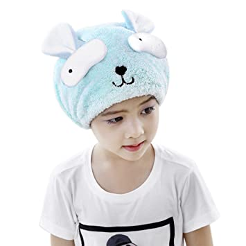 Amazon Com Hair Drying Cap For Kids Girls Cute Cartoon Coral