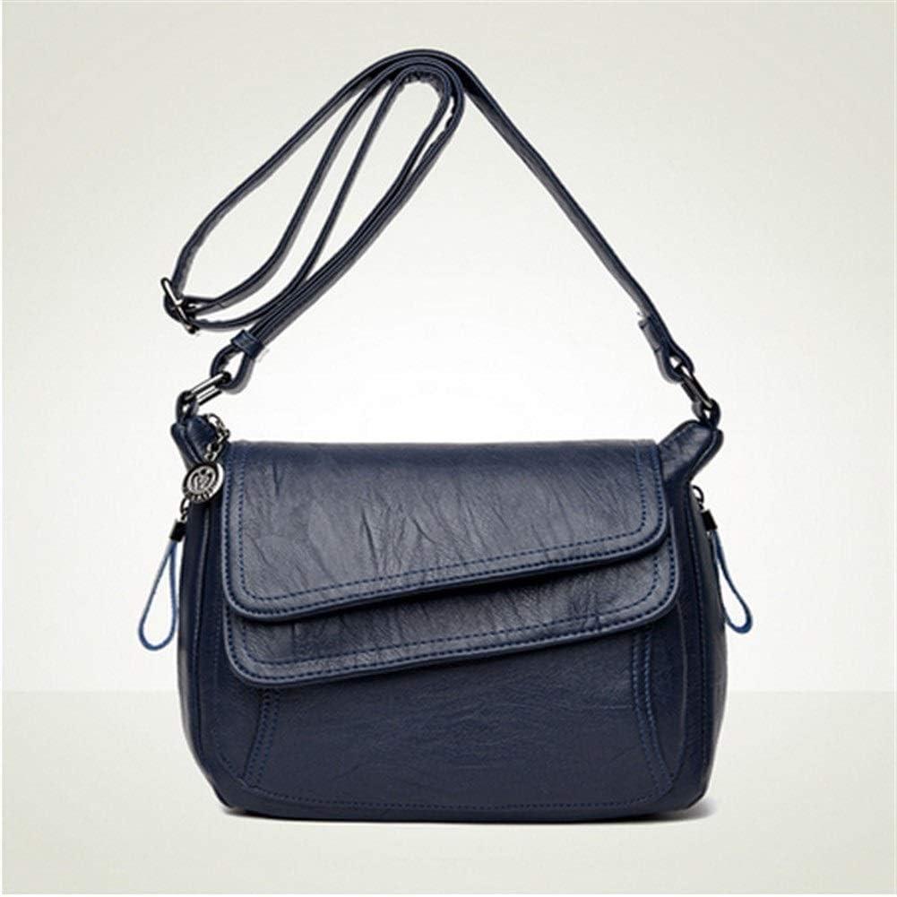 TEYUN Schultertasche New Leder Schultertasche Mode Luxuxentwerfer Schwarz Blau Mädchen Messenger Bag (Color : Gray) Blue