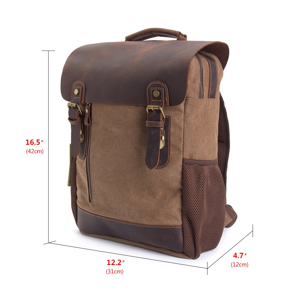 d44b676c8c41 Amazon.com  Vintage Leather Canvas Backpack