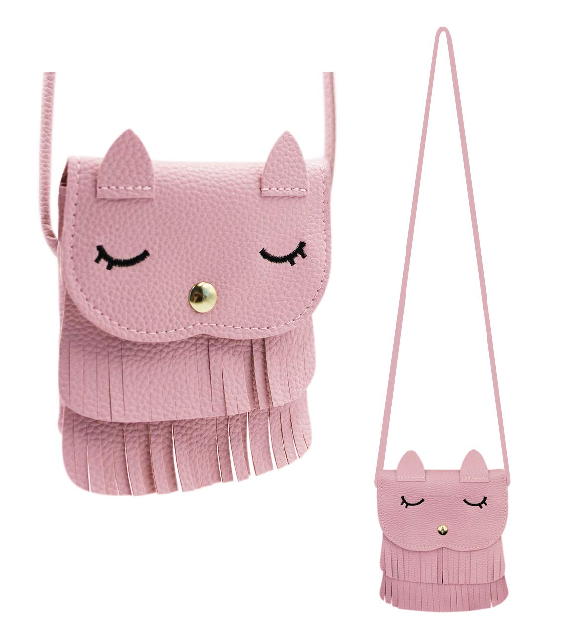 Bags us (5.15.9in) Fringe Cat Tassel Coin Purse Shoulder Bag Purse Crossbody Satchel handbags for Kids Girls