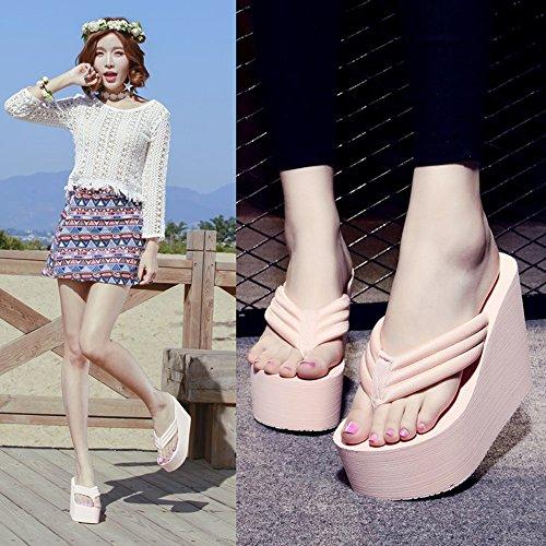 CHANCLAS SANDALS 12cm de los deslizadores de tacón alto de los deslizadores de la manera de la playa de las sandalias del paño del verano de los altos talones de los altos talones zapatos de la playa  Pink