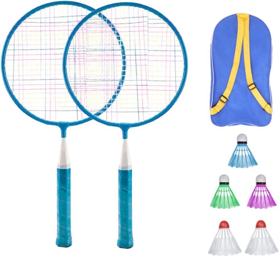 LIOOBO Juego de Bádminton para Niños Juego de Raquetas de Bádminton para Niños Juego de Juguete para Niños con Tres Bolas Y Bolsa de Almacenamiento Rosa