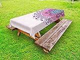 Ambesonne Mandala Outdoor Tablecloth, Ethnic Ornamental Figure Meditation Spiritual Zen Boho Style Print, Decorative Washable Picnic Table Cloth, 58 X 120 inches, Pale Pink Teal Purple