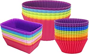 Silicone Cupcake Baking Cups Jumbo Muffin Liners Reusable Non-stick Cake Molds Sets (24-Pack)