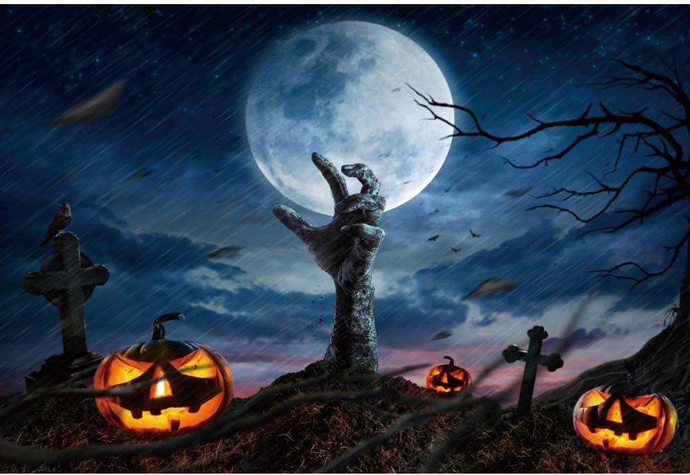 Halloween Night Background 10x6.5ft Zombie Hand Photography Backdrop Grimace Pumpkin Lamp Bright Full Moon Twinkle Star Rainstorm Gloomy Day Bat Graveyard Cross Horror Party Photo Prop Studio